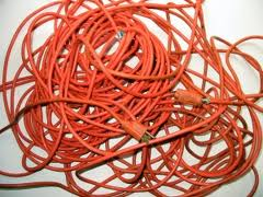 tangled Extension cord